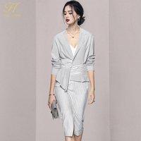 Two Piece Dress H Han Queen 2021 Autumn 2 Pieces Set Women Suit Cota Crop Top And Stripe Sheath Pencil Skirts Korean Chic Office Lady Skirt