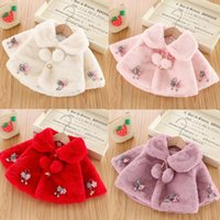 Jackets Winter Cloak Coats For Toddler Baby Girl Velvet Jacket Cute Faux Furs Cape Windproof Coat Thick Warm Turndown Collar Bow Outwear