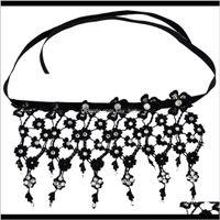 Idealway mode schwarz spitze blume form quaste choker halsketten rot klar kristall kragen bib halskette o7gzm choker r8kot