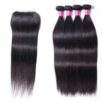 Remy Hair Extensions Unprocessed Human Hair 4 Bundles Straight Peruvian Indian Malaysian Brazilian Hair Weave with Closure 4*4 Grade 10A Wholesale