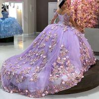 Light Purple Quinceanera Dresses with Applique Luxury Corst Sweet 16 Dress vestidos de 15 años Prom Gowns for Women Sweep Train