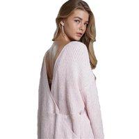 Женские свитера Wkoud розовая мода глубокий V-образным вырезом вязаные вязаные пуловеры Сексуальный крест сплошной OL свитер Streetwear y8063
