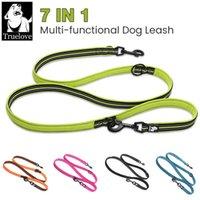 Truelove 7 en 1 Multi-fonction Réglable Dog Main Free Pet Entraînement Laisse réfléchissant Multi-usage Promenade 2 chiens Colliers Laisses