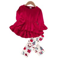 Christmas Kids Clothing Sets Girls Outfits Baby Clothes Children Wear Autumn Winter Long Sleeve Dress Printed Tights Leggings Pants 2Pcs B7601