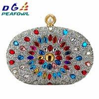Peafowl Luxury Crystal Floral Clutch Chain Bag Woman Wedding Diamond Blue Purple Cell Phone Pocket Evening Wallet Handbags