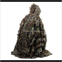 Jacket Sets Clothing Tactical Gearoutdoor 3D Leaves Camouflage Camo Cape Stealth Ghillie Suit Cs Woodland Hunting Poncho Cloak Drop Delivery