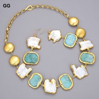 Jewelry set Natural Sweetwater White Baroque Pearl Green Nugget Ites Gold Color Plated Coin Chain Earrings Sets
