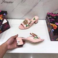 Prowow kadın sandalet lüks tasarımcı yaz ayakkabı kadın için hakiki deri açık toe topuklu terlikler