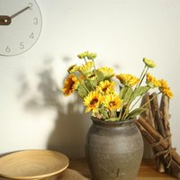 Artificial Sunflower Fake Flowers Branch For Home Garden Office Dining Table Wedding DIY Decor Decorative & Wreaths