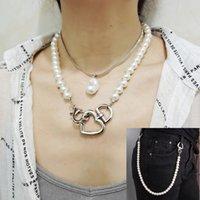 Liebe Anhänger Halsketten Taille Ketten Mode Frau Einfache Temperament Legierung Retro Multilayer Schlange Knochen Schlüsselbein Kette Natürliche Barock Perle Schmuck Geschenk