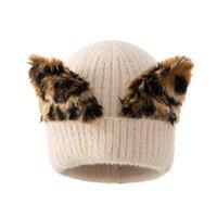 Beanie Skull Caps Women's Hat Winter Beanie Knitted Angola Fur Bonnet Girl 's Leopard Cute Skullies Fall Female Cap Pom
