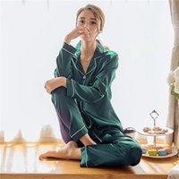 여자 실크 새틴 잠옷 잠옷 잠옷 세트 긴 소매 잠옷 Pijama 잠옷 슈트 여성 수면 두 조각 세트 loungewear 플러스 크기 210325