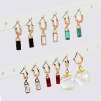 Hoop & Huggie Fashion Multicolor Square Crystal Stone Earrings For Women Round Geometric Small Circle Statement Jewelry