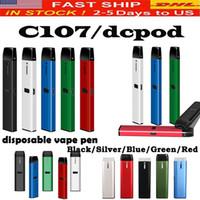 충전식 일회용 vape 펜 키트 C107 DCPOD 카트리지 빈 포드 0.5ml 및 두꺼운 오일 기화기 용 1.0ml