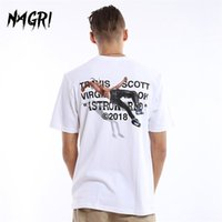 Nagri Men T-shirt Fan Lettera Stampa Travis Scotts Astroworld Pocket Graphic Graphic Tshirst Lettera Stampa Streetwear Hip Hop Tee 210319