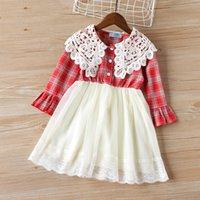 الفتيات اللباس الربيع 2021 طويلة الأكمام مخطط التطريز تصميم الأميرة اللباس طفل ملابس الأطفال