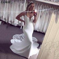 Other Wedding Dresses LORIE Classic Mermaid Spaghetti Straps V-Neck Appliques Lace Elastic Satin Gown Boho Bridal Dress 2021