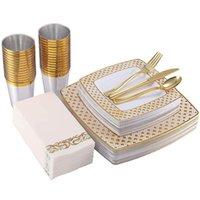 Super luxuriöse Einweg-Tassen-Strohhalme 125 stücke Gold / Rose Gold Besteck Set Caccommodate 25 Personen Square Bronzing Plate Party Geschirr Dekoration