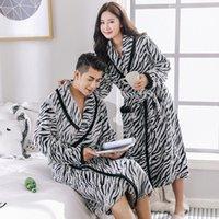 Couple de peignoir Flanelle Kimono hiver épais therme chaude there vêtement de vêtement de sommeil long robe el spa bain doux pour femme / hommes femmes