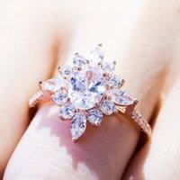 band Rose Gold Snowflake Female Women Flower Stamen Simulation Diamond Wedding Ring Designer Jewelry