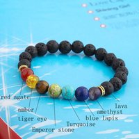 Natural Lava Stone Beads Healing Balance Chakra Charm Bracelet 8mm Tiger Eye Bead Tibetan Buddha Prayer Bracelet for Women Men