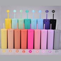 17 Farben! 16Oz-Acryl-dünnes Tumbler matt farbige Acryl-Becher mit Deckeln und korlativen Strohhalsten Doppelwand-Kunststoff-Tumbler mit freiem Stroh wiederverwendbarer Tasse