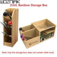 Professional Hand Tool Sets 2UUL Bamboo Storage Rack Multifunctional Box Wooden Desktop Organizer Tweezer Screwdriver Phone Repair Holder