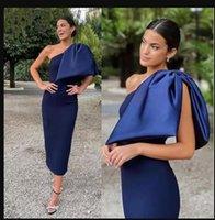 Elegant Navy Blue Sheath Cocktail Party Dresses One Shoulder Short Prom Dress Knee Length Satin Formal Dress Evening Gowns