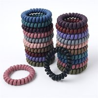 Telephone Wire Coil Hair Tie Band Woman Frosted Elastic Rubber Girl Holder Bracelet Accessory Ponytail Headdress Scrunchy 228 Z2