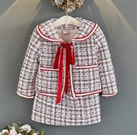 Lady Style Детская клетчатая шерстяная одежда наборы одежды девочек на шнуровке на шнуровке бантики галстуки отвороты с длинным рукавом Вершина + юбка решетки 2 шт. Осенние детские наряды Q1041