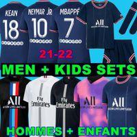 PSGJERSEY Maillots de Football 18 19 20 21 22 축구 유니폼 2021 2022 MBappe Neymar 셔츠 남성 키즈 Maillot 드 발 옴므 Kimpembe 4th Verratti Kean Marquinhos
