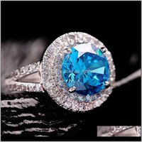 Jewelryfemale Natural Blue Aquamarine Real 925 Sterling Sier Engagement Ring Crystal Solitaire Wedding Rings For Women Drop Delivery 2021 2P