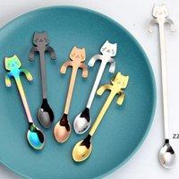 ステンレススプーンかわいい猫のぶら下げカップコーヒースプーン小さじ犬のデザートスナックスクープアイスクリームミニスプーソンズ食器HWB11383