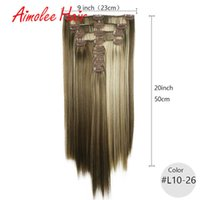 20inch 8pcs set Blonde Highlight Synthetic Long Straight Hairpiece In Hair Extensions 7 Color 16 Clip High Temperature