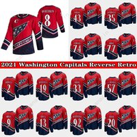 Washington Capitales Jersey 2021 Retro Retro 8 Alex Ovechkin 19 Nicklas Backstrom 20 Lars Eller 43 Tom Wilson 74 John Carlson Hockey Jerseys