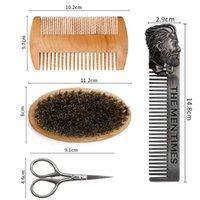 Hair Brushes 4pcs Professional Soft Bristle Wood Beard Brush Hairdresser Shaving Comb Men Mustache Kit With Gift Bag Set