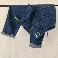 Blue jeans hombres mujeres bordados pantalones rotos trasero bolsillos pantalones 1 calidad coreano