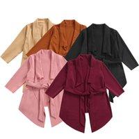 Coat CitgeeAutumn Solid Kids Girls Long Sleeve Irregular Hem Jacket Waistband Spring Clothes