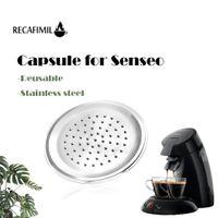 Refernbarer Kaffeekapsel Recavimil für Senseo Edelstahl Crema Pod Nachfüllbare Filter Kaffeemaschinenmaschine 210326