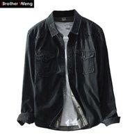Brother Wang Brand Spring Новый мужской Повседневная Черная Джинсовая Рубашка 100 Хлопок Мода Slim Рубашки с длинным рукавом Мужская Одежда 210323