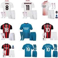 20 21 Jerseys de futebol AC Mandzukic Milan Balr. 2021 Ibrahimovic Tonali Çalhanoglu Kessie Men Kid Kits Camisas de futebol