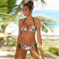 Plus Size Sexy 2021 Floral Print Swinsuit Swimwear Women Low Waist Push Up Bikini Set Beachwear Brazilian Biqiuni Summer