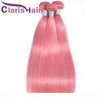 Desconto Pink Peruan Virg Virg Virg Straight Weave Bundles Alta proporção 100% cabelo humano 3 partes Colorido rosa Remy Extensions Ofertas