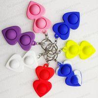 Push Bubble Keychain Fidget Toys Kids Novel Print Keychains Simple Dimple Toy Keys Holder Rings Bag Pendants Stress Decompression Gifts