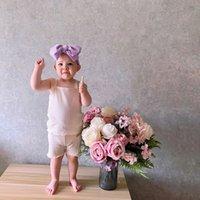 AKS Australien Koreaner Qualität Ins Babykleidung Sets Einfacher Feste Gestrickte Baumwolle Sleeveless Sommer Tops mit Shorts Neugeborenen Outfits