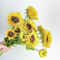 Fiori decorativi Corone 3 Testa Big Flower Artificiale Girasole Simulazione Sun Gerbera Daisy per la casa Soggiorno Decorazione del partito