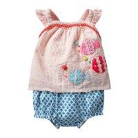Kleine Maven Sets Sommer Baby Mädchen Kleidung Baumwolle Kinder Sets Tier Fisch Applique T-shirt + Shorts Boutique Outfits Kits 210326