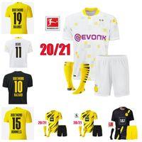 20-21 Borussia Haaland Reus Dortmund Soccer Jerseys 20 ^ 21haaland Hummels Brandt Football Shirt Men Kids Socks Kit