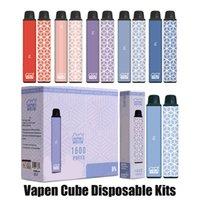 정통 Vapen 큐브 일회용 키트 1600 퍼프 5.5ml Profilled Pods 650mAh 배터리 AIO 시스템 장치 증기 바 스틱 vape 펜 100 % 원래