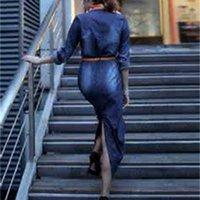 150pc Autumn new fashion women denim dress casual loose long sleeved T shirt dresses plus size free shippingX5PW7FRQ